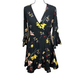 Influence  dress in faux wrap floral dress